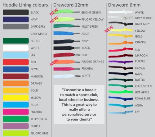 Custom colours for hood lining & drawcords