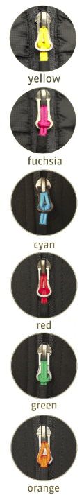Coloured zip pullers